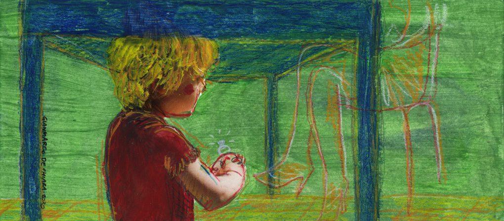 Sotto il tavolo di Riccardo Meozzi illustrazione di Gianmarco De Chiara 2020